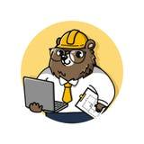 Fumetto sveglio della mascotte dell'ingegnere dell'orso illustrazione vettoriale