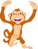 Fumetto sveglio della scimmia Immagini Stock