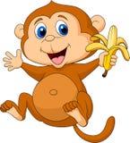 Fumetto sveglio della scimmia che mangia banana Fotografia Stock Libera da Diritti