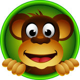 Fumetto sveglio della testa della scimmia Fotografia Stock