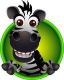 Fumetto sveglio della testa della zebra Fotografie Stock