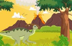 Fumetto sveglio di Parasaurolophus nella giungla Immagine Stock