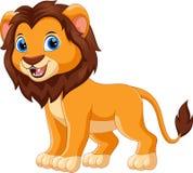 Fumetto sveglio di sorriso del leone del bambino illustrazione vettoriale