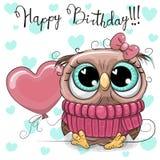 Fumetto sveglio Owl Girl con un pallone Fotografie Stock