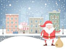 Fumetto sveglio Santa Claus con la borsa nella cittadina in vacanza Fotografie Stock