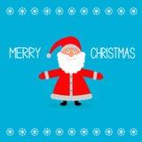 Fumetto sveglio Santa Claus e fiocchi di neve. Chr allegro Fotografie Stock