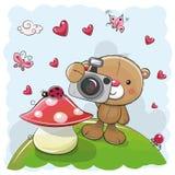 Fumetto sveglio Teddy Bear con una macchina fotografica Fotografia Stock