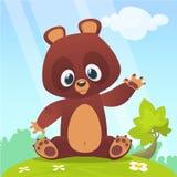 Fumetto sveglio Teddy Bear su un prato con i fiori Illustrazione di vettore Fotografia Stock