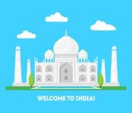 Fumetto Taj Mahal Symbol del concetto di turismo del fondo dell'India Vettore Immagini Stock