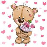 Fumetto Teddy Bear con il bigné su un fondo dei cuori illustrazione vettoriale