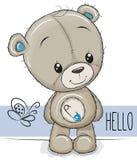Fumetto Teddy Bear su un fondo bianco Illustrazione Vettoriale