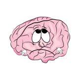Fumetto triste del cervello Fotografie Stock Libere da Diritti