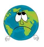 Fumetto triste del globo del mondo Fotografia Stock Libera da Diritti