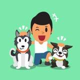 Fumetto un uomo ed i suoi cani Immagine Stock