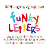 Fumetto variopinto dell'insieme delle lettere di alfabeto di ABC di divertimento funky dei bambini Fotografia Stock