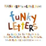 Fumetto variopinto dell'insieme delle lettere di alfabeto di ABC di divertimento funky dei bambini Immagine Stock