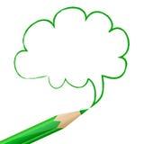 Fumetto verde disegnato con la matita Fotografia Stock