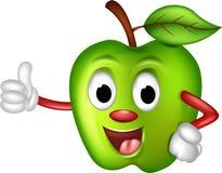 Fumetto verde divertente della mela Fotografia Stock Libera da Diritti