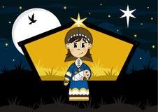 Fumetto vergine Maria e bambino Gesù Immagini Stock