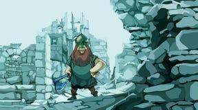 Fumetto vichingo con un'ascia nelle rovine di pietra di una fortezza illustrazione di stock