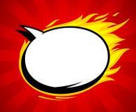 Fumetto vuoto di stile ardente di Pop art con le fiamme Fotografia Stock Libera da Diritti