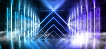 Fumez la pièce rose bleue rougeoyante au néon abstraite Hall de pourpre vibrant brillant réfléchi sombre étranger de vaisseau spa illustration stock