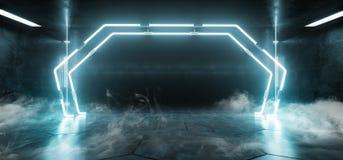 Fumez le cercle au néon bleu portail d'arc de Sci fi de fond a formé l'étape étrangère futuriste de club de danse de vaisseau spa illustration stock