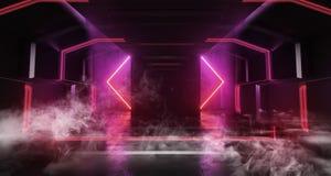 Fumez le Cyberpunk vide sombre rougeoyant au néon de Hall Vibrant Purple Fluorescent Spaceship de tunnel de couloir de Sci fi de  illustration stock