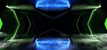 Fumez le vaisseau spatial étranger rougeoyant vert bleu futuriste au néon de grunge de Sci fi de vapeur de brouillard de tunnel d illustration stock