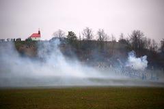 Fumez sur le champ de bataille, bataille de trois empereurs, Austerlitz, Photographie stock libre de droits
