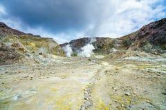 Fumi, cratere vulcanico, l'isola bianca, Nuova Zelanda 41 Immagine Stock Libera da Diritti
