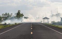 Fumi dalla bruciatura dell'erba asciutta sul bordo della strada Fotografie Stock