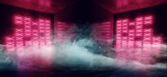 Fumi i rossi carmini che moderni futuristici cyber al neon vibranti di Sci Fi il club di ballo principale d'ardore blu del laser  illustrazione di stock
