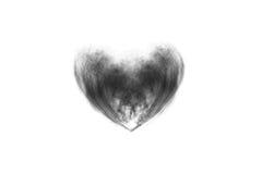 Fumi il cuore a forma di, il nero dell'estratto, isolato su fondo bianco Fotografie Stock