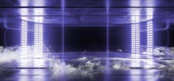 Fumi il fondo concreto Asphalt Optical Illusion Fluorescent Blue Violet Vibrant Glowing Empty di lerciume scuro al neon di realtà illustrazione vettoriale