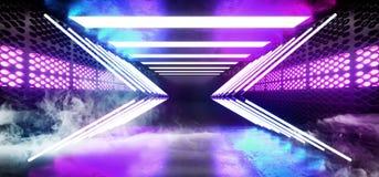 Fumi il fondo Sci Fi che dell'astronave della nebbia la stanza straniera moderna futuristica Hall Glowing Blue Purple Neon accend illustrazione vettoriale