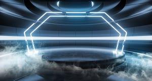 Fumi il fondo Sci Fi che dell'astronave della nebbia la stanza straniera moderna futuristica Hall Glowing Blue Violet Neon accend illustrazione vettoriale