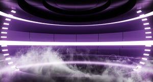Fumi il fondo Sci Fi che dell'astronave della nebbia la stanza straniera moderna futuristica Hall Glowing Purple Violet Neon acce royalty illustrazione gratis