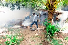 Fumigation mosquitoes enter houses made of wood kill mosquito carrier of dengue virus.Soft and blur focus. royalty free stock images