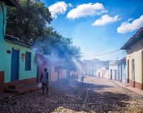Fumigation in Trinidad. Fumes from fumigation against pests enter the street in Trinidad, Cuba Royalty Free Stock Images
