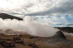 Fuming sulfur fumes in Hverir, in the Krafla volcanic system, in Iceland.  stock photo