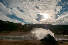 Fuming sulfur fumes in Hverir, in the Krafla volcanic system, in Iceland.  royalty free stock photos