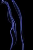 Fumo azul isolado no preto Imagens de Stock Royalty Free