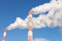 Fumo bianco dai tubi contro lo sfondo del cielo immagine stock libera da diritti