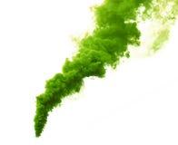 Fumo da cor verde no fundo branco Imagem conservada em estoque Fotografia de Stock Royalty Free
