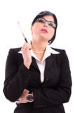Fumo da mulher de negócio Foto de Stock Royalty Free