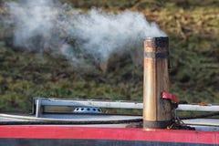 Fumo del camino della piccola barca Fotografia Stock Libera da Diritti