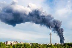 Fumo del fuoco a Vilnius Fotografia Stock Libera da Diritti