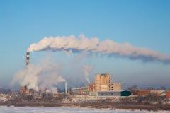 Fumo della stazione termica Giorno (freddo) gelido Fotografie Stock Libere da Diritti