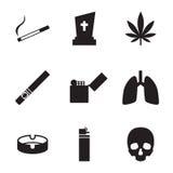 Fumo e ícones dos cigarros ilustração royalty free
